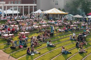 The amphitheater on the Brenau University Gainesville campus fills up with people enjoying live music and delicious food during the 2012 Brenau Barbecue Championship.