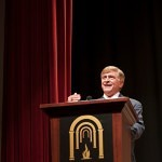 Brenau University President Ed Schrader welcomes the class of 2017 to the Brenau University Women's College in Historic Pearce Auditorium.