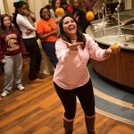 Students do some impromptu juggling during Midnight Breakfast.