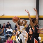 Brenau's Jasmine Butler drives for a basket.