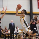 Brenau's Kalin Williams drives to the basket for a layup.