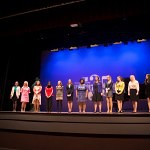 All 13 contestants in the Brenau Ideal Scholarship Competition stand on stage before the winners are announced.
