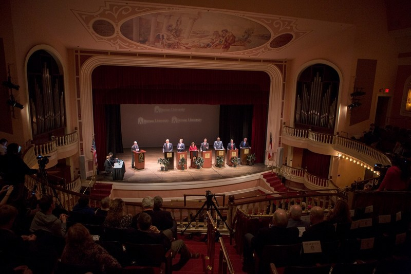 Georgia GOP Candidates in the primary election for the U.S. Senate seat take to the stage in historic Pearce Auditorium.