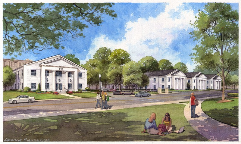 A rendering of the new sorority houses on Brenau's Gainesville campus.