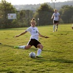 Brenau's Elizabeth Campbell drives the ball upfield during the Golden Tigers opening match against Tennessee Wesleyan.