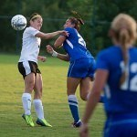 Brenau's Elizabeth Campbell fights for possession during the Golden Tigers opening match against Tennessee Wesleyan.