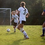Brenau's Kaylee Ellison drives the ball upfield during the Golden Tigers' opening match against Tennessee Wesleyan.